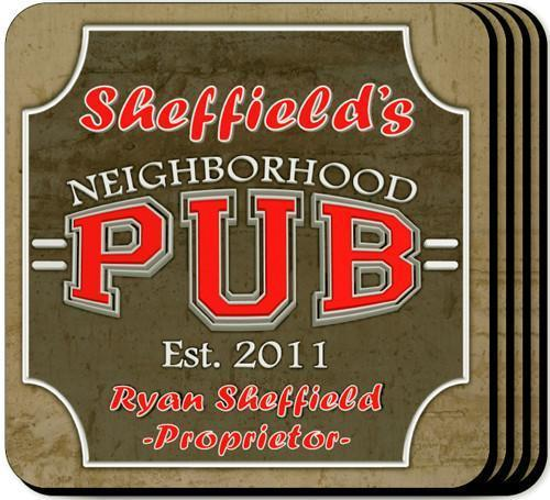 Personalized Coaster Set - NeighborhoodPub - JDS