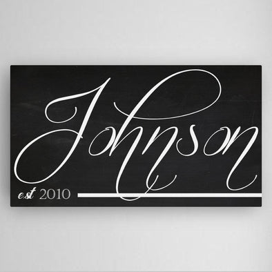 Personalized Family Chalkboard Canvas Sign -  - JDS