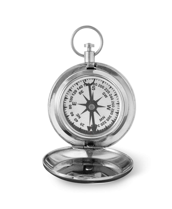 Personalized High Polish Silver Keepsake Compass with Wooden Box - 3LINES - JDS