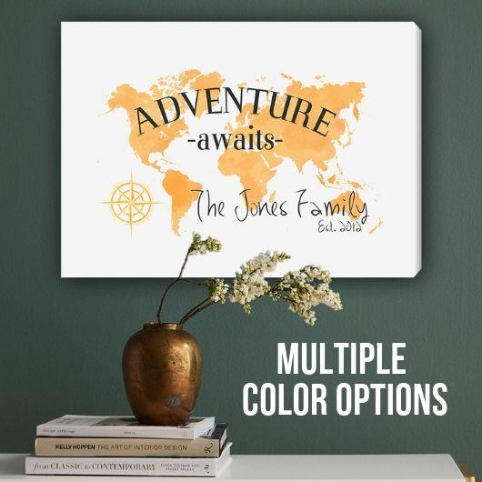 Personalized Adventure Awaits Canvas Map Wall Art -  - JDS