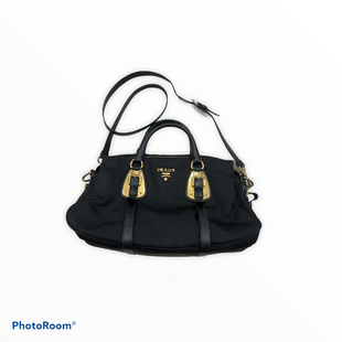 "Primary Photo - BRAND: PRADA STYLE: HANDBAG DESIGNER COLOR: BLACK SIZE: MEDIUM OTHER INFO: TESSUTO SATCHEL SKU: 311-31120-15165GOLD HARDWARE24"" DROP"