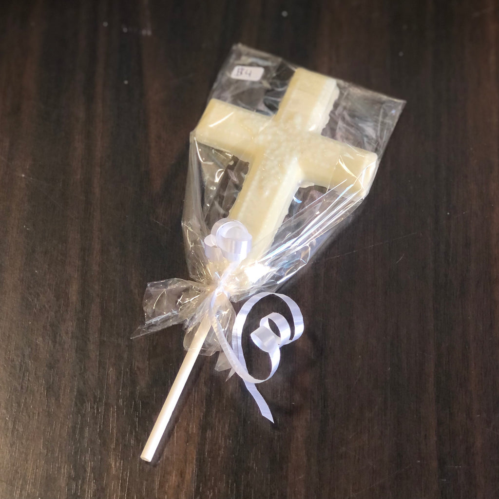 White Chocolate Cross Lollipop