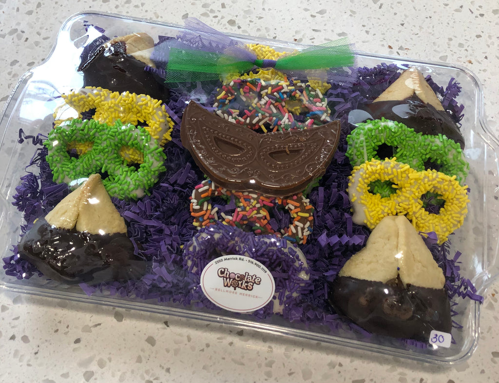 Purim Chocolate Pretzel + Chocolate Dipped Hamentashen Platter