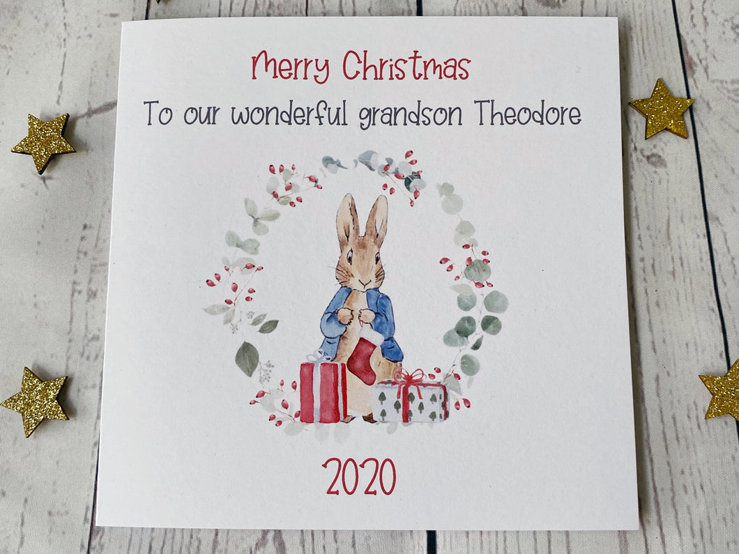 Peter Rabbit Personalised Christmas Card