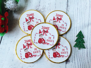 5 x Elf 'I'm back!' Christmas Milk Chocolate coins