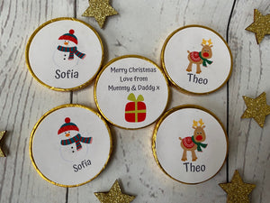 5 x Personalised Milk Chocolate Christmas coins
