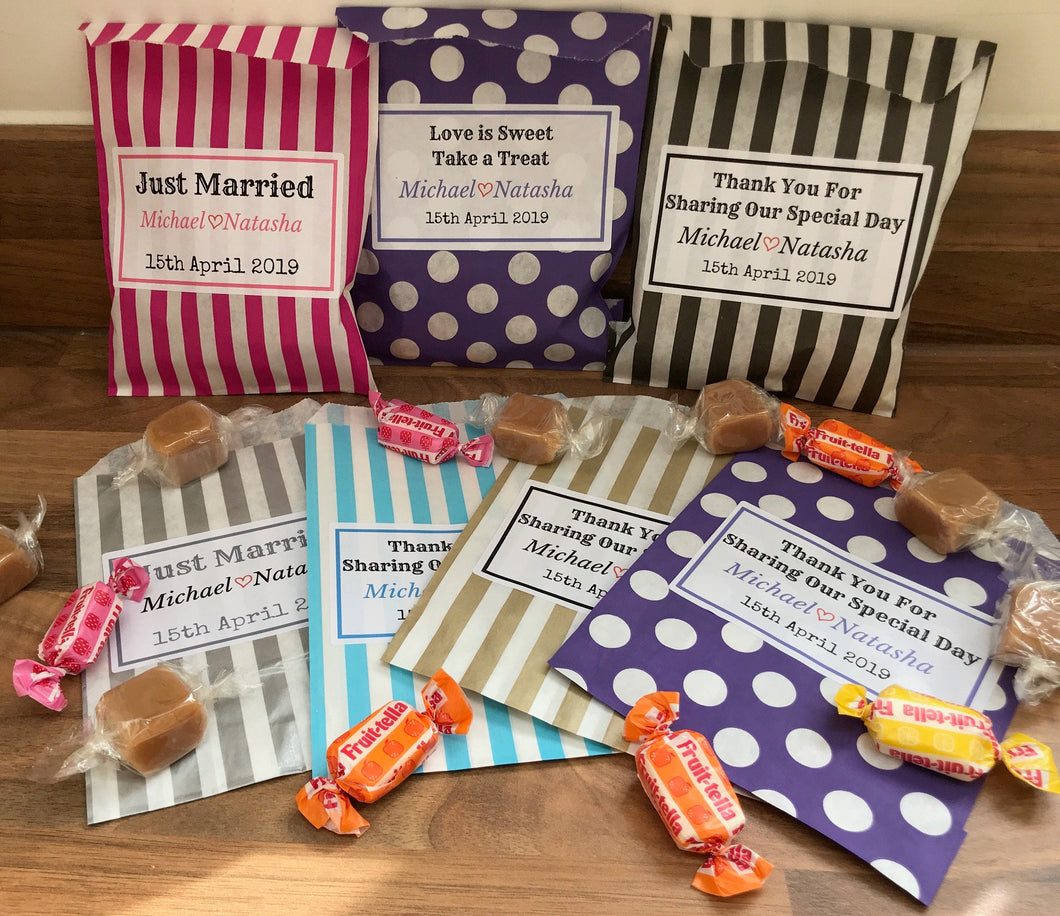 Personalised Wedding Candy Sweet Bags Treat Favour Bag Stripe Polka Dot