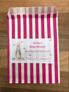 Personalised Peter Rabbit Baby Shower Sweet Bags Pink / Blue / Grey Favour Treat / Gender Reveal