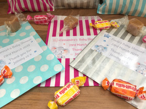 Personalised Baby Shower Sweet Bags Baby Elephant Pink/Blue/Grey Favour Treat - Gender reveal