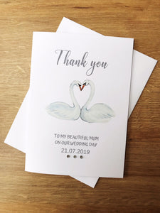 Personalised Swan Wedding thank you cards.