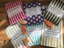 Load image into Gallery viewer, Personalised Wedding Candy Sweet Bags Treat Favour Bag Stripe Polka Dot