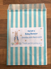 Load image into Gallery viewer, Personalised Peter Rabbit Baby Shower Sweet Bags Pink / Blue / Grey Favour Treat / Gender Reveal