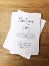 Load image into Gallery viewer, Personalised Swan Wedding thank you cards.