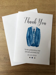 Personalised Blue suit jacket Wedding thank you card - Any role