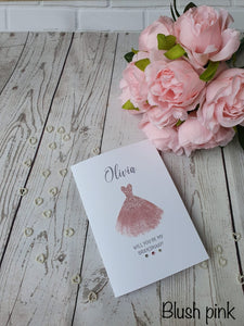 Personalised Will you be my Bridesmaid Card - Dress  - Any role
