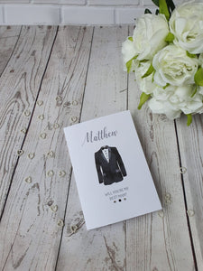Personalised Will you be my Best man card - Usher - Page boy - card