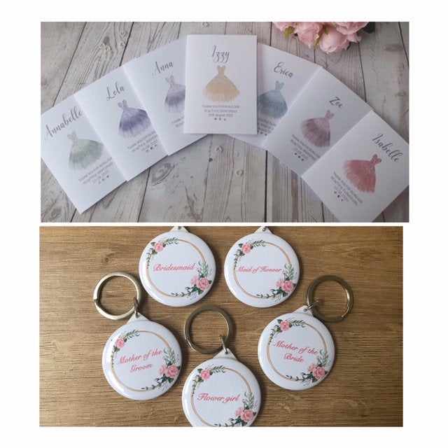 Bridesmaid mirror keyring and thank you card gift set. Maid of honour - Flower girl - Chief Bridesmaid