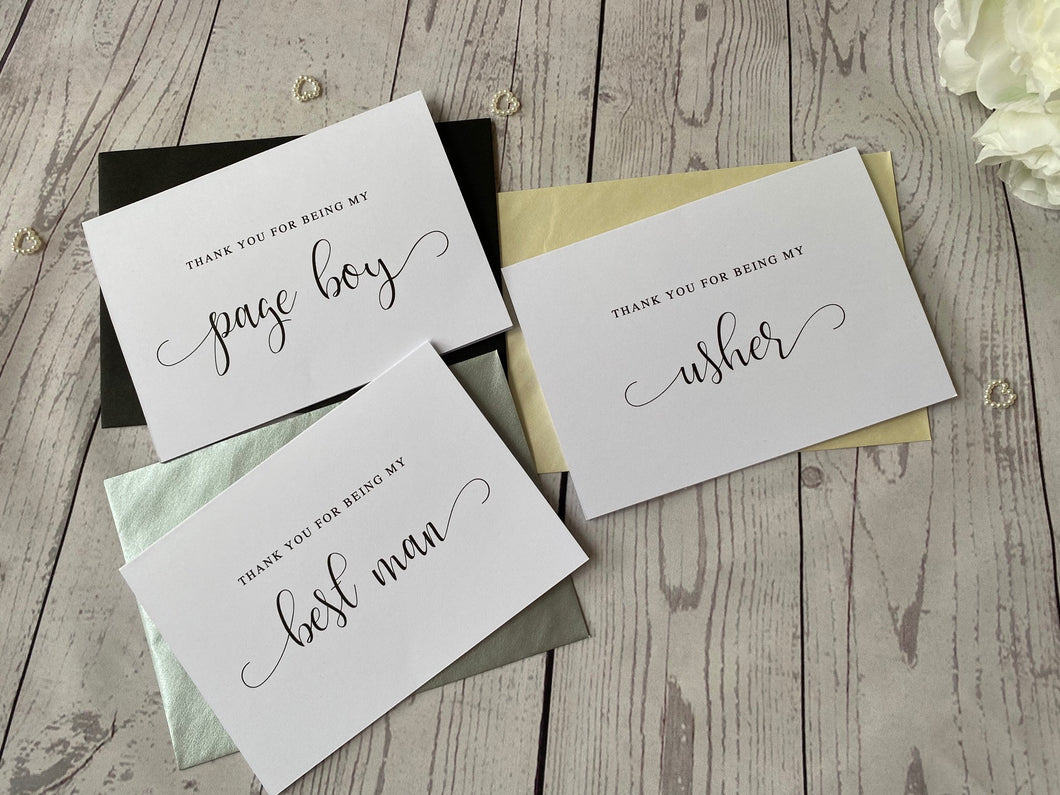 Thank You Groomsman Card - Usher - Best Man - Swirly Font - With Envelopes