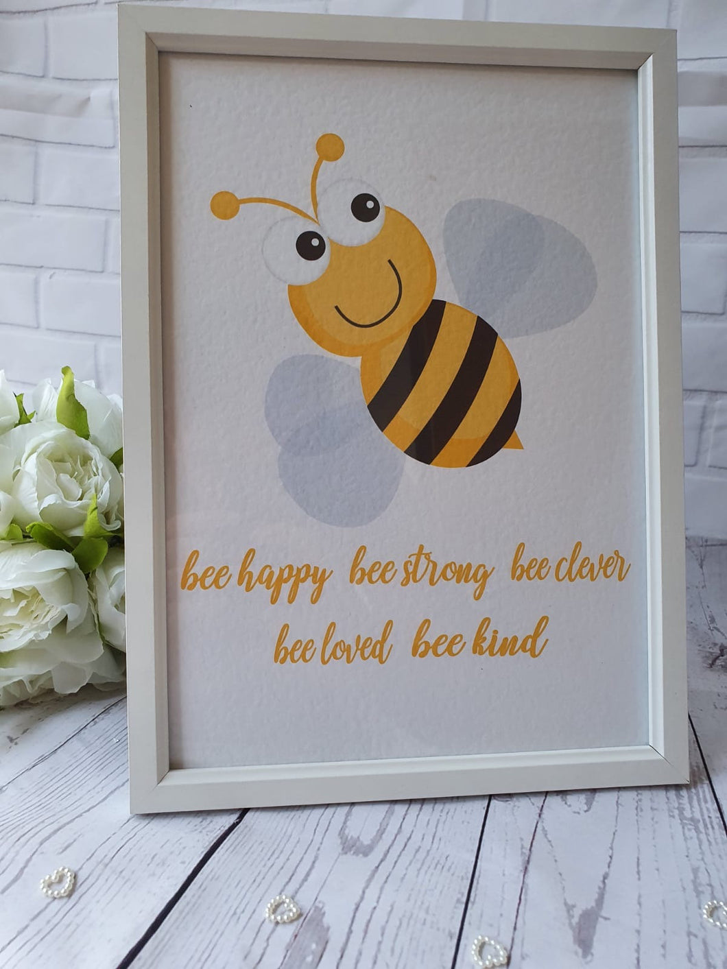 Personalised Newborn Baby Girl Baby Boy Bee Happy Bee Kind Bee Clever Picture Print Only Gift Nursery Christening Gift Baby Gift