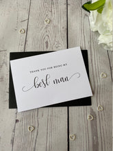 Load image into Gallery viewer, Thank You Groomsman Card - Usher - Best Man - Swirly Font - With Envelopes