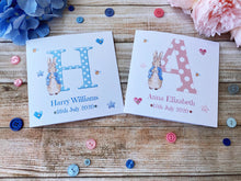 Load image into Gallery viewer, Personalised Peter Rabbit new Baby Boy/Girl Card