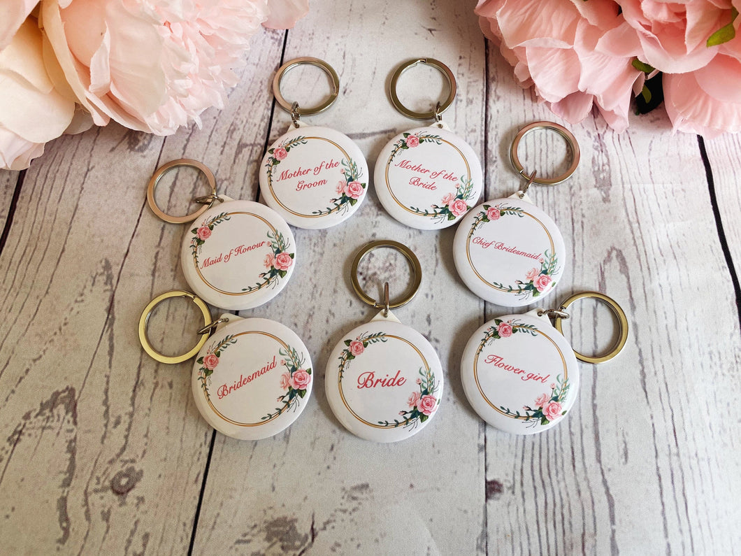 Lovely Bridesmaid mirror keyring gift. Maid of honour - Flower girl