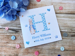 Personalised Peter Rabbit new Baby Boy/Girl Card