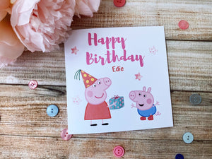 Personalised Peppa pig birthday card - George pig birthday card