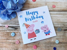 Load image into Gallery viewer, Personalised Peppa pig birthday card - George pig birthday card