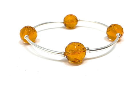 Birthstone Blessing Bracelets by Count Your Blessings, Faceted Czech Citrine 12 mm Glass Beads November Birthstone