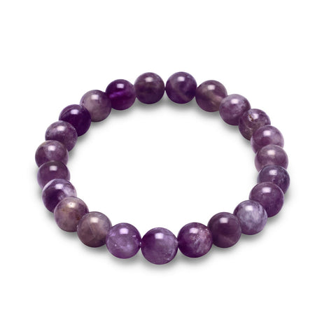 Count Your Blessings Amethyst Gemstone Stretch Bracelet