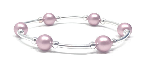 Blessing Bracelets by Count Your Blessings, Genuine Pink Swarovski Pearls 8mm & 925 Sterling Silver, Smaller Size