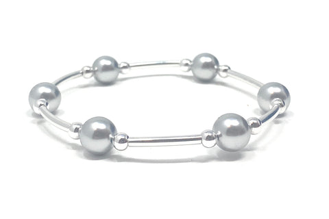 Count Your Blessings Bracelet Silver Swarovski Pearl 6.5""
