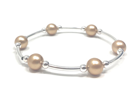 Count Your Blessings Bracelet Gold Swarovski Pearl 6.5""