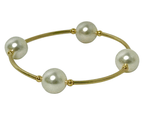 Blessing Bracelet GOLD 14/20 GF & White Swarovski Pearl 4 Bead 12mm
