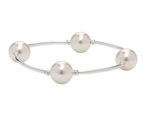 Blessing Bracelets by Count Your Blessings, Genuine White Swarovski Pearls & 925 Sterling Silver, 4 Bead - 12mm