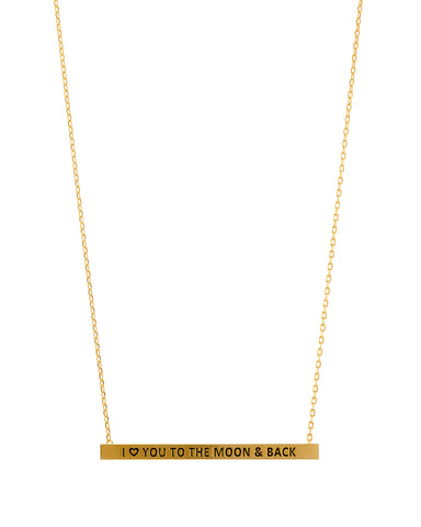 Count Your Blessings Necklace, I LOVE YOU TO THE MOON AND BACK, Gold