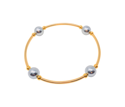 "Blessing Bracelets by Count Your Blessings, Genuine Swarovski Silver Pearls &  GOLD 14/20, 6.5"" Wrist"