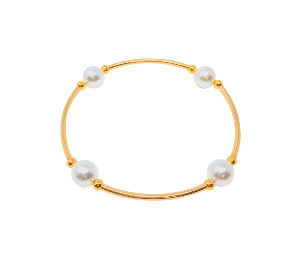 "Mini Blessing Bracelets, GOLD 14/20 GF & WHITE Pearl 4 Bead - 8mm, 6.5"" Wrist"