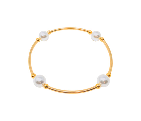 "Blessing Bracelets by Count Your Blessings, Genuine Swarovski White 8mm Pearls & GOLD 14/20 GF, 6.5"" Wrist"