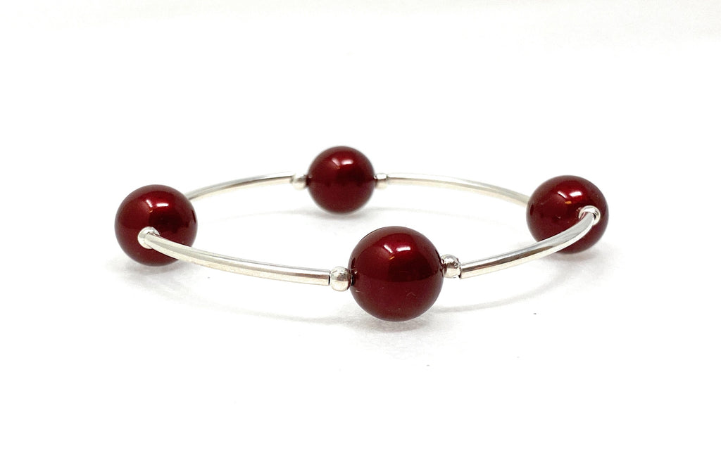 Blessing Bracelet Swarovski  BORDEAUX WINE Pearl 4 Bead 12mm