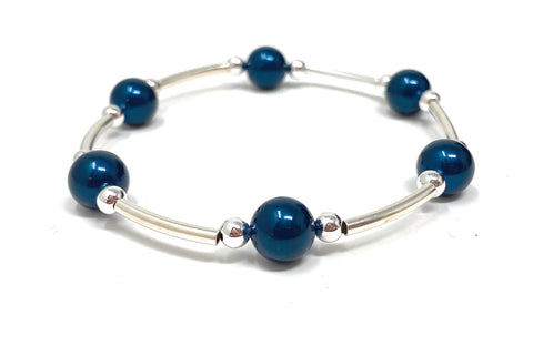 Count Your Blessings Bracelet Midnight Blue Swarovski Pearl 6.5""