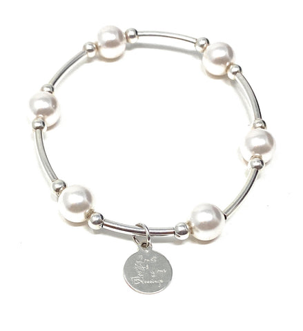 Count Your Blessings Charm Bracelet White Swarovski Pearl 8mm - 6.5""