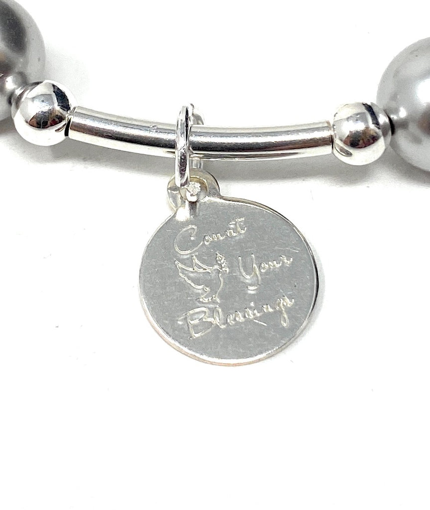 Count Your Blessings Charm Bracelet Silver Swarovski Pearl 8mm