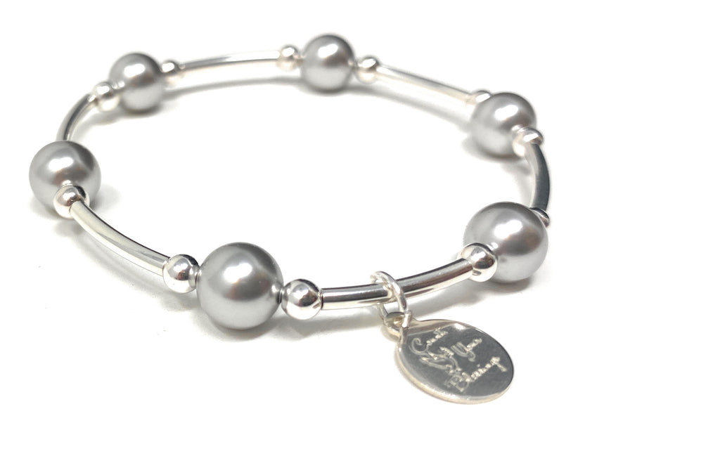 Count Your Blessings Charm Bracelet Silver Swarovski Pearl 8mm - 6.5""