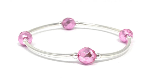 Birthstone Blessing Bracelets by Count Your Blessings, Faceted Czech METALLIC PINK 8 mm Glass Beads October Birthstone