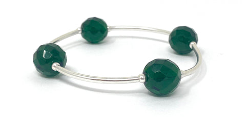 Birthstone Blessing Bracelets by Count Your Blessings, Faceted Czech EMERALD 12 mm Glass Beads May Birthstone