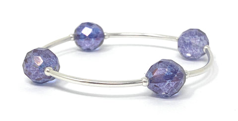 Birthstone Blessing Bracelets by Count Your Blessings, Faceted Czech ALEXANDRITE 12 mm Glass Beads June Birthstone