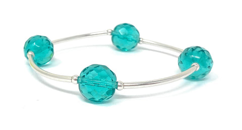Birthstone Blessing Bracelets by Count Your Blessings, Faceted Czech LT AQUA 12 mm Glass Beads March Birthstone