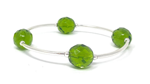 Birthstone Blessing Bracelets by Count Your Blessings, Faceted Czech Peridot 12 mm Glass Beads August Birthstone